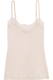 Greta lace-trimmed stretch-satin camisole