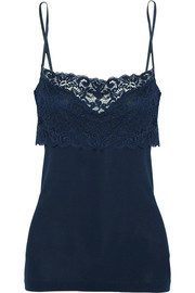 Moments stretch Leavers lace-paneled cotton-jersey camisole