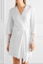 Anna embroidered tulle-paneled cotton-jersey robe