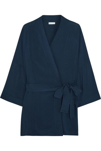 Hanro - Hélène Poplin Robe - Midnight blue