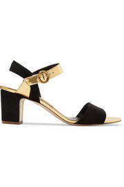 Pythia suede and mirrored-leather sandals