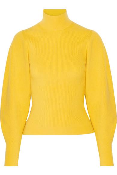 Mugler - Ribbed Wool-blend Turtleneck Sweater - Yellow