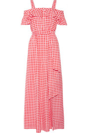 Draper James Dolly cold-shoulder gingham cotton and silk-blend maxi dress