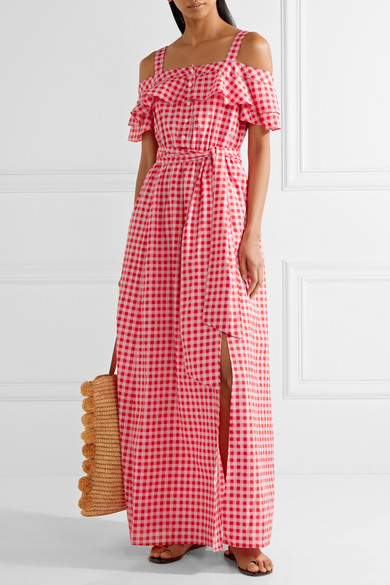 Dolly Cold-shoulder Gingham Cotton And Silk-blend Maxi Dress - Green Draper James aHJWZLFZtw