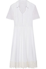 Appliquéd broderie anglaise cotton dress