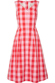 Cutout gingham cotton-poplin dress
