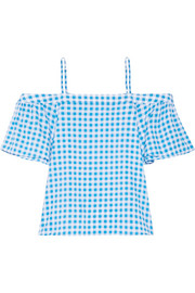 Cold-shoulder gingham cotton and silk-blend top