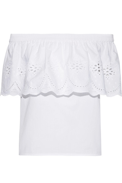 Draper James - Off-the-shoulder Broderie Anglaise Cotton Top - White