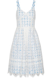 Pointelle-trimmed lace and gingham cotton-blend dress
