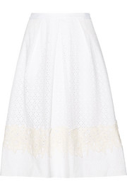 Lace-appliquéd broderie anglaise cotton skirt