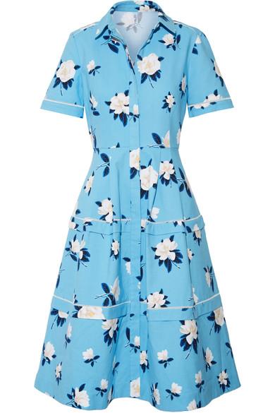 Draper James - Crochet-trimmed Floral-print Cotton-piqué Dress - Azure