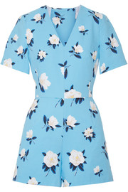 Cutout floral-print cotton-piqué playsuit