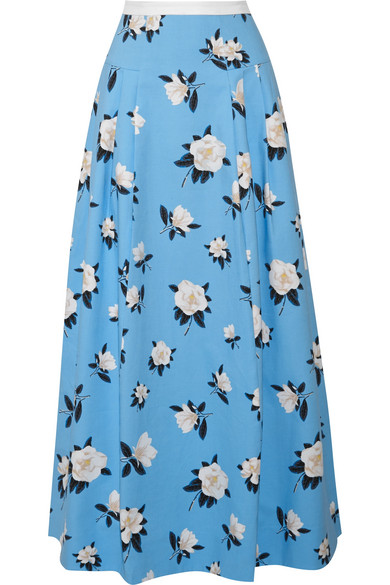 Draper James - Pleated Printed Cotton-piqué Maxi Skirt - Light blue