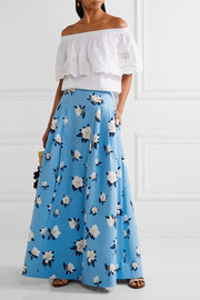 Pleated printed cotton-piqué maxi skirt