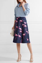 Printed silk and cotton-blend midi skirt