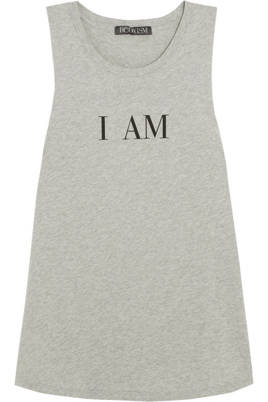 Bodyism - I Am Strong Printed Cotton-jersey Tank - Gray