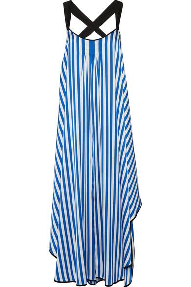 Shalana asymmetric striped satin maxi dress