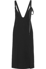 Geronia satin-trimmed crepe midi dress