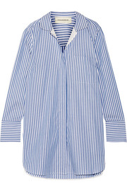 By Malene Birger Anafrina silk-trimmed striped cotton-poplin shirt