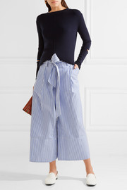 Bennih cropped striped cotton-poplin wide-leg pants