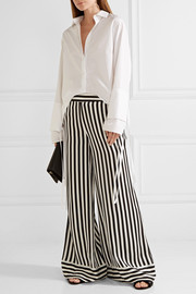 Ladralla striped satin wide-leg pants