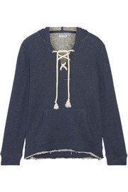 Splendid Lace-up French cotton-terry hooded top