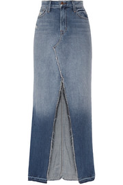 Trystan distressed denim maxi skirt