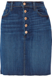 Roleen frayed stretch-denim skirt