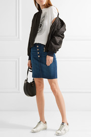 J Brand Roleen frayed stretch-denim skirt