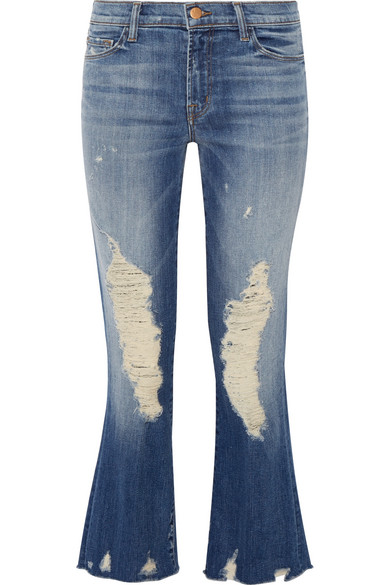adf24fcbed191 J Brand. Selena distressed cropped mid-rise bootcut jeans