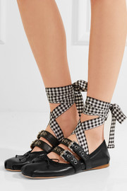 Miu Miu Lace-up leather ballet flats