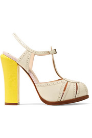 Fendi Perforated and lizard-effect leather Mary Jane pumps