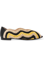 Fendi Leather-trimmed raffia sandals