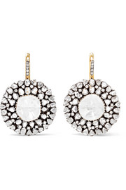 18-karat gold, silver and diamond earrings