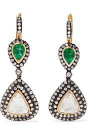 18-karat gold, silver, diamond and emerald earrings
