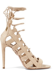 Aquazzura Amazon lace-up suede sandals