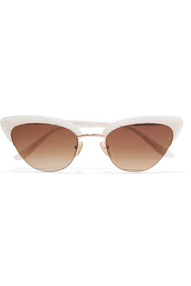 Pixie cat-eye acetate and rose gold-tone sunglasses