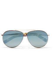 Aviator-style rose gold-tone mirrored sunglasses