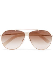 Eva aviator-style rose gold-tone sunglasses