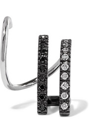 Maria Black Bess Mono Twirl 14-karat white gold, rhodium-plated and diamond earring
