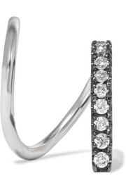 Maria Black Bela Mono Twirl 14-karat white gold, rhodium-plated and diamond earring