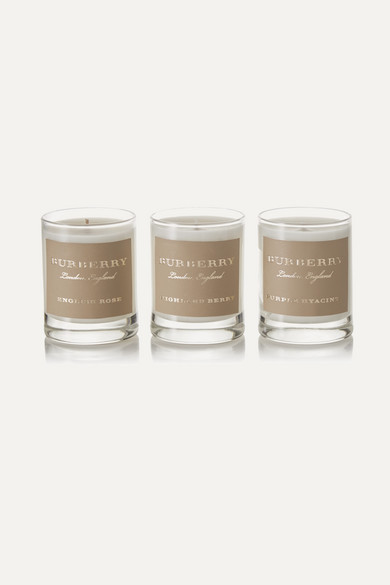 PURPLE HYACINTH, HIGHLAND BERRY AND ENGLISH ROSE SET OF THREE SCENTED CANDLES, 3 X 65G