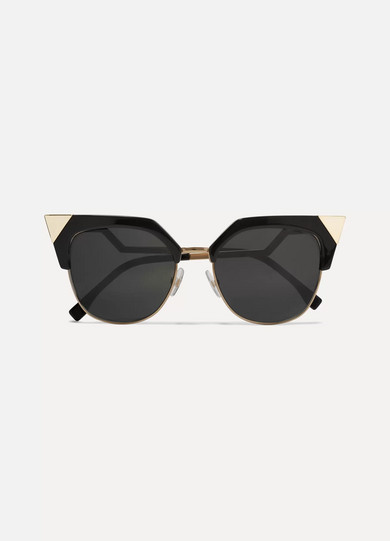 Iridia Cat-Eye Sunglasses With Gold-Tone Detailing in Black