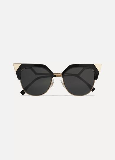fendi female fendi iridia cateye goldtone and acetate sunglasses black