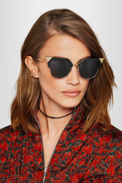 Fendi Sunglasses  fendi iridia cat eye gold tone and acetate sunglasses net a