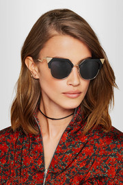Fendi Iridia cat-eye gold-tone and acetate sunglasses