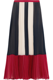 Color-block plissé chiffon maxi skirt