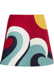 Color-block cotton-blend crepe mini skirt