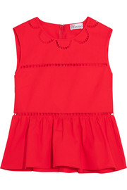 Embroidered cotton peplum top