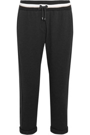 Cropped cotton-blend track pants